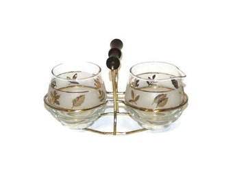 Libbey Golden Foliage Cream and Sugar Set with Wood Handle Carrier