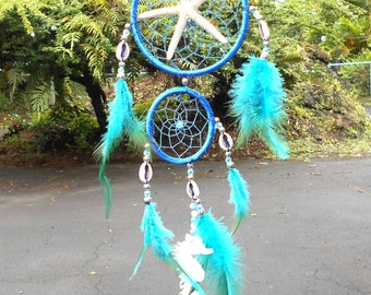 Starfish Dreamcatcher - Tropical Decor, Dream Catcher, Starfish, Seahorse, Crystal, Wind chime, Window Decor, Bad Dreams, Protection