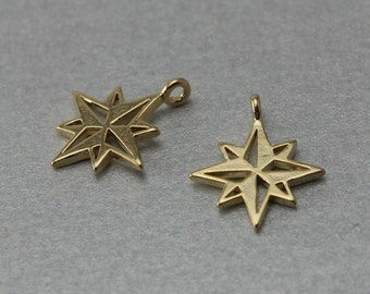 Compass Brass Pendant . Polished Gold Plated . 10 Pieces / C1231G-010