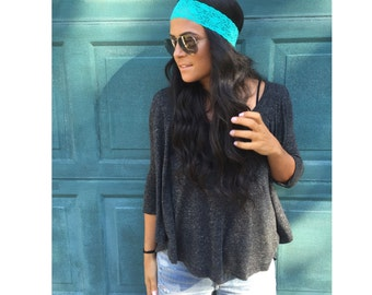 Thin Lace Headband Teal