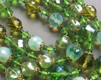 1950's Green Glass 4 Row Necklace