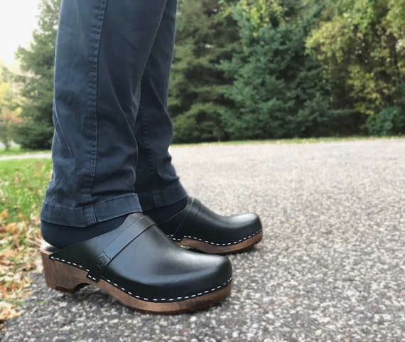 Handmade Clogs For Men / Black Leather Clogs / Mules / Swedish