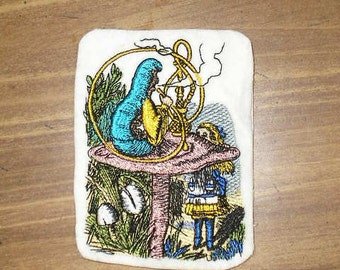 Embroidered Patch / applique - Alice & Blue Caterpillar - Alice in Wonderland sew or glue on 3 x 4 inch ANY COLORS