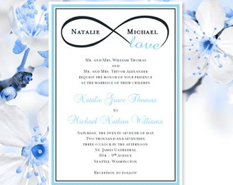 Printable Wedding Invitation Template Infinity Love Sky Blue Charcoal Gray Make Your Own