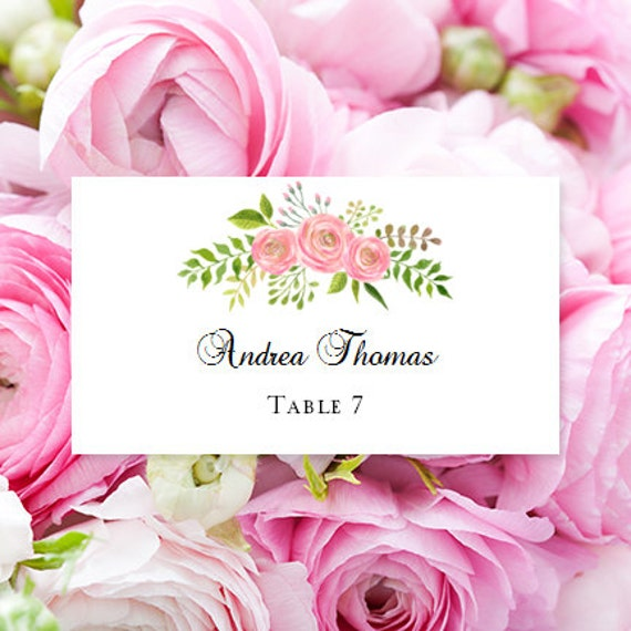 flat printable place card watercolor floral 7 edit