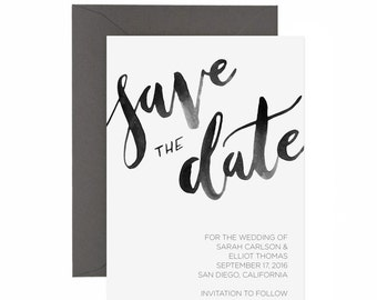 Watercolor Modern Calligraphy Save the Date
