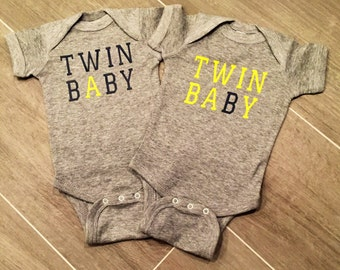 Baby A and Baby B onesie, twins, twin onesies, twin shirts,
