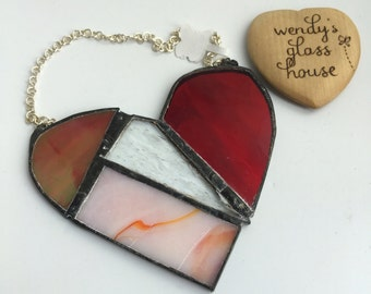Stained glass heart in red