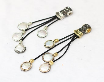 Pearl Beads Tassel Pendants -- With Pave CZ Diamond Zircon Head YHA-068