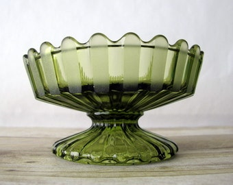 Gorgeous HFM by Fostoria Green Glass Pedestal Candy Dish / Henry Ford Museum Flower Shaped Avocado or Olive Green Compote Dish