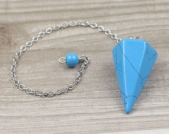 Blue Turquoise Point Pendulum Pendant -- Healing Crystal Point Pendant with Silver Plated bail Wholesale 1,3,5,10,50,100