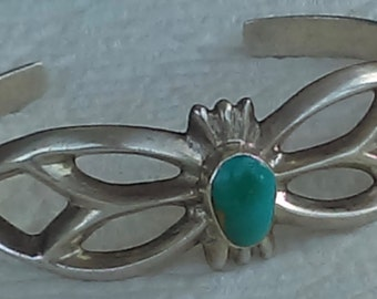 Vintage Navajo cuff bracelet sand cast silver, natural turquoise