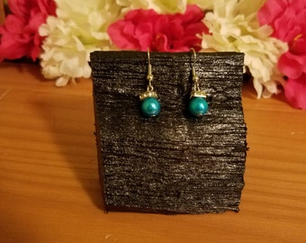 simple blue dangle earrings