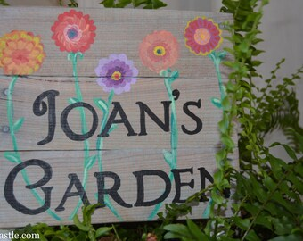 Personalized Garden Sign with Happy Flowers