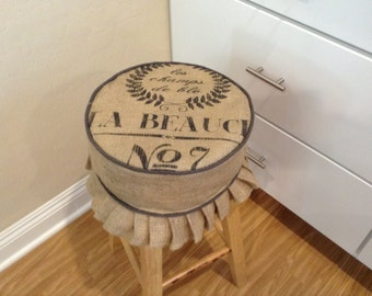 Rustic French Grain Sack burlap round barstool cover with dark gray piping trim and pleat details, add foam for a softer seat