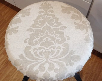 Linen elasticized round barstool cover, kitchen counterstool seat cover, Berlin Premier Prints Fabric, natural w white washable