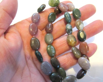 Gemstone Beads Indian Agate, Oval, 10 x 14 MM, 16 Inch Strand, 29 Beads, Multi Colors, Jewelry Beads, Beading Supplies