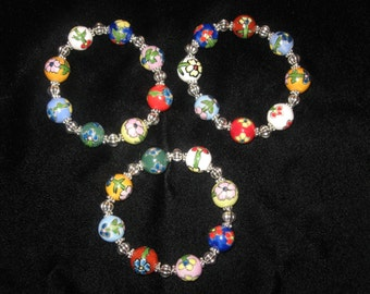 Grandmother/mother/daughter/niece/ ceramic hand painted bead and silver bracelet