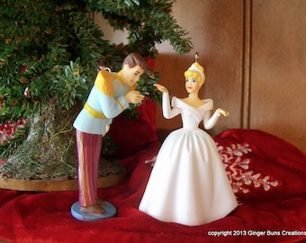 Cinderella as bride with Prince Charming wedding ornament set of 2