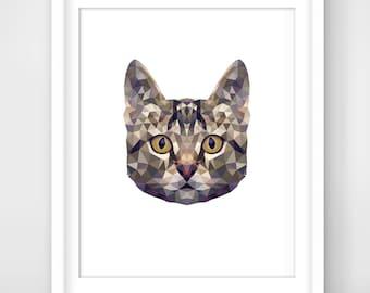 30% OFF SALE Cat Print, Cat Art, Cat Wall Art, Geometric Cat Print, Origami Cat Print, Cat Face,  Geometric Cat Art, Triangle Cat Art, Cat