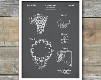 Patent Art, Vintage Basketball Hoop, Basketball Goal, Basketball Coach Gift, Kids Room Decor, Basketball Room Decor, P357
