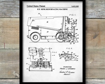 Ice Resurfacing Machine,  Patent Poster, Hockey Art, Sports Decor, Figure Skating Gifts, Transportation Wall Art, Ice Hockey, P367