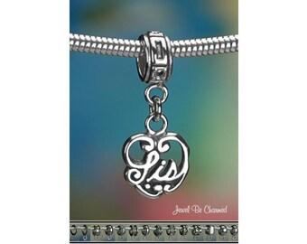 Sterling Silver Sis Charm or European Style Bracelet Sister Heart .925