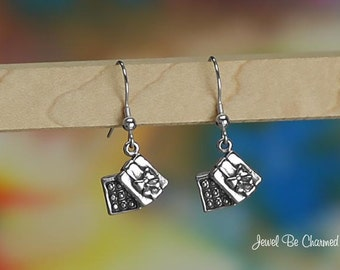 Sterling Silver Box of Chocolates Earrings Fishhook Earwires Solid 925