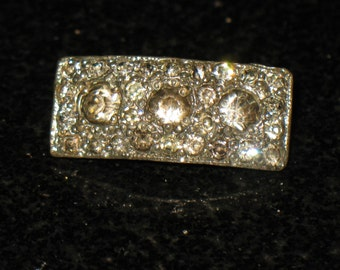Victorian or Edwardian Pot Metal Rhinestone Small Brooch