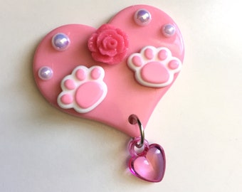 Kawaii Deco Heart Hair Clip or Brooch (kitty paws style 3)