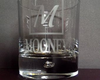 Personalized Etched Double Old Fashion Glass