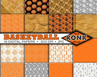 16 Digital Papers Basketball Theme scrapbook paper, JPG, 300 dpi, 12x12 inch papers