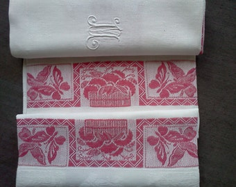"Set of 6 French Antique Pure Linen Damask Napkins, Red and White, ""Bandeau Rouge"" with hand embroidered  Monogram  M"