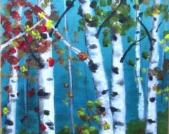 Tree painting**Aspen Birch trees**Summer landscape**Acrylic painting**Landscape**Original