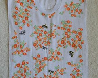 Bees//Flowers Towel Bib