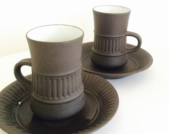 Dansk Denmark Flamestone Coffee Cups and Saucers Set of Two(2)