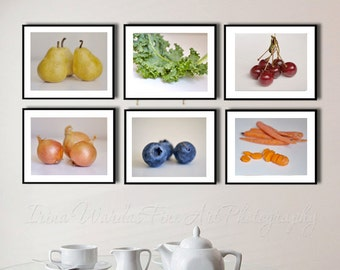 Dining room wall decor, white kitchen wall art set of 6 prints, food photography, fruit and vegetables, cafe restaurant culinary art gifts