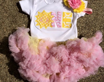 Pink and yellow sunshine birthday outfit - you are my sunshine birthday theme - 1st 2nd birthday bodysuit, skirt, and headband