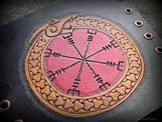 Fully Custom Tooled Viking Knotwork Bracer / Vambraces / Armguards - Ægishjálmr Helm of Awe with Ouroboros (Single Bracer)