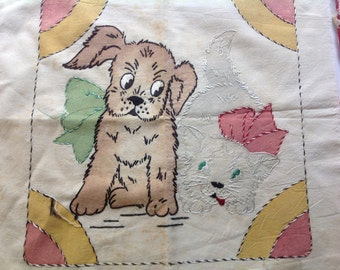 Antique primitive stitched cloth dog puppy cat kitten embroidered cloth