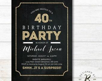 Surprise 40th Birthday Invitation, Adult Birthday Invitations, 30th, 50th, 60th, 80th Party Invites - AB02 Chalkboard, Gold