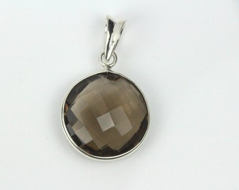 Smoky Topaz Pendant, Large Topaz Pendant in Sterling Silver, Beautiful Antique Design, Handmade Pendant