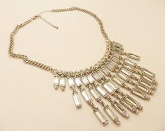 Vintage Art Deco Style Rhinestone Necklace Bridal Jewelry