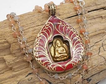 Sacred Buddha and Inlaid Coral Tibetan Necklace - Good Luck, Tibetan Necklace, Good Fortune, Buddha, Coral, Tibetan
