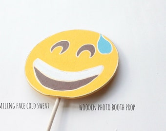 Smiling Face with Cold Sweat Emoji, Emoji Party Decorations, Emoji Photo Booth Props, Booth Display, Photo Booth Props Birthday, Emoji