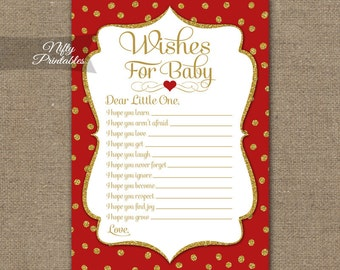 Red Wishes For Baby Game - Red Baby Shower Game - Printable Red Gold Baby Wishes Game - Holiday Shower Game GDR