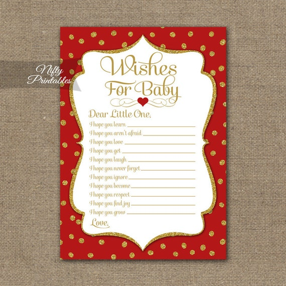 Red Wishes For Baby Game   Red Baby Shower Game   Printable Red Gold Baby  Wishes Game   Holiday Shower Game GDR
