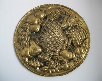 English Brass Wall Plaque- Brass Fruit Wall Decor- Brass Kitchen Dining Decor- Old English Brass
