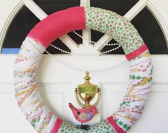 "Spring wreath - handmade - 18"" - floral"