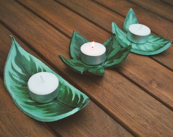leaf clay candle holder